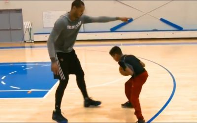 Carmelo Anthony Teaches His Son How to Jab Step